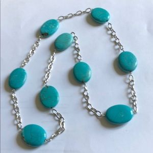 Jewelry - Turquoise and Silver Chain Necklace.